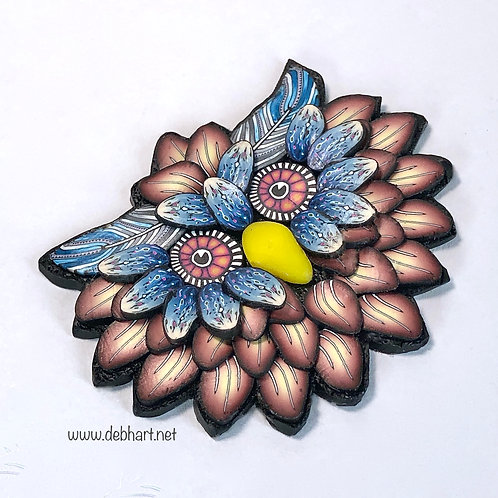 Owl Pin - Rust/Denim