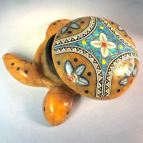 Medium Large Amber/Turquoise Mandala Sea Turtle Box