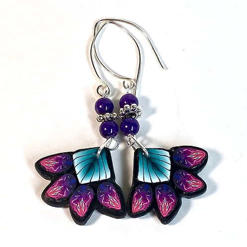Squash Blossom Earrings - Teal/Purple Style 2