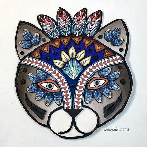 Tribal Cat pin - brown/purple