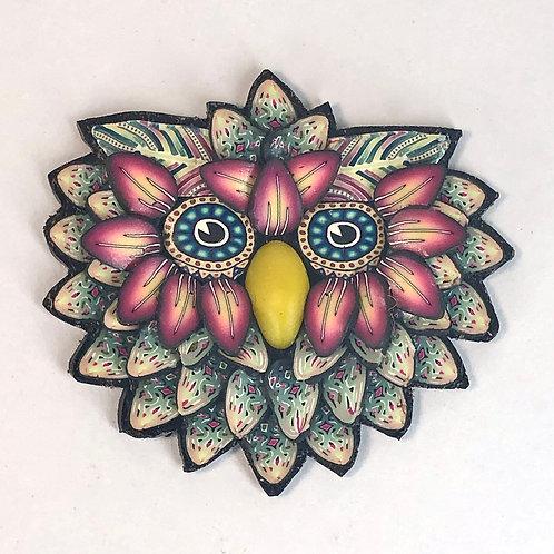 Owl Pin - Teal/Rose