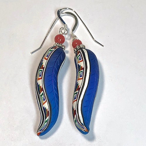 Chili Pepper Stripe Earrings -Blue/Blue style 2