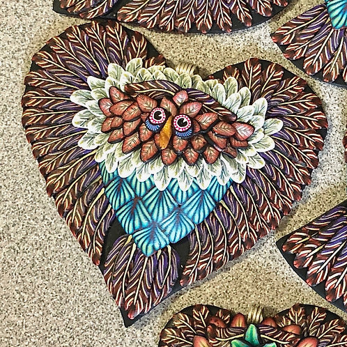 Large Owl Heart Pendant - Purple/Red/Teal