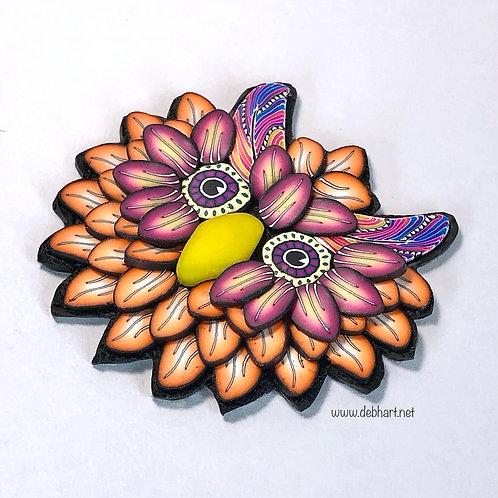 Owl Pin - Orange/Rose
