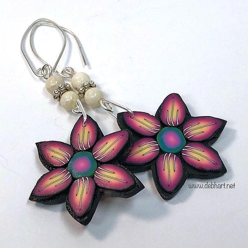 Copy of Flower Power Earrings - Fire/Midnight