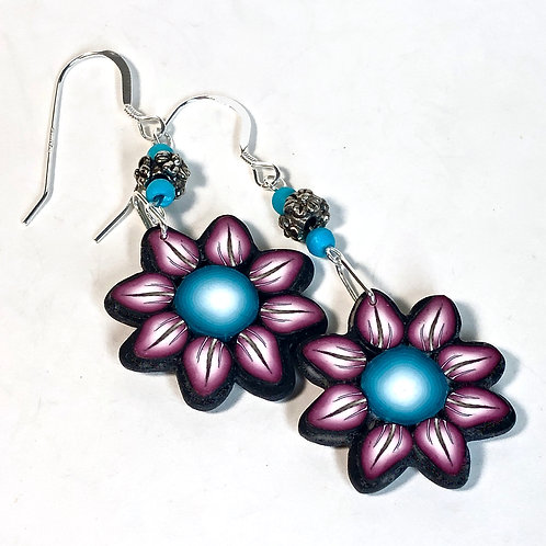 Flower Power Earrings - Teal/Wine