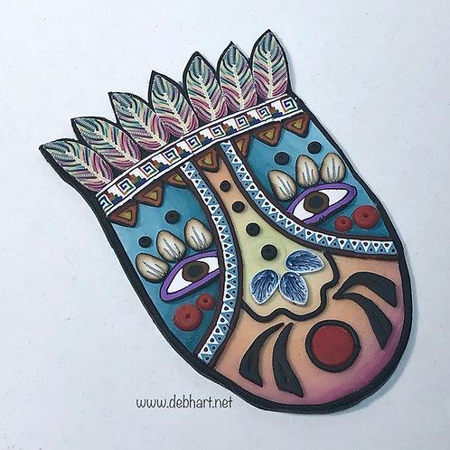 Tribal Mask pin - denim/orange