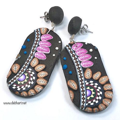 Paisley Slab Earrings - Medium Oval