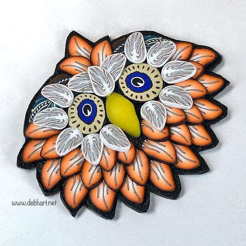 Owl Pin - Orange/White