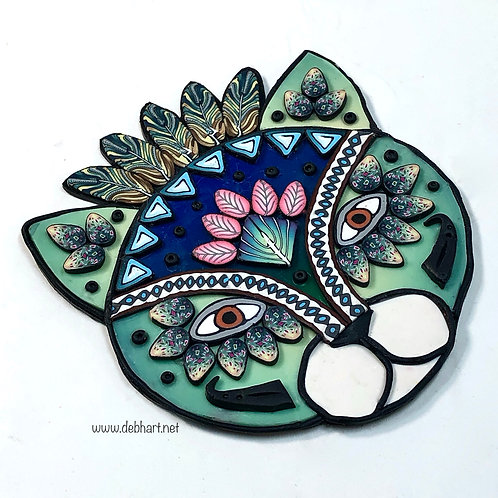 Tribal Cat pin - green/blue