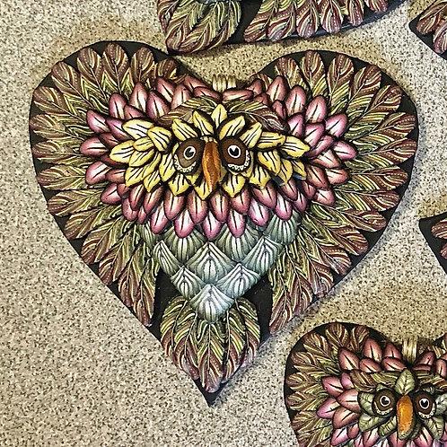Large Owl Heart Pendant - Sage/Yellow/Cranberry