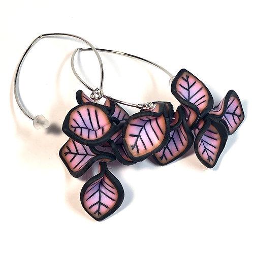Petal Cluster Earrings - Pink/Purple