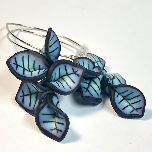 Petal Cluster Earrings - Dark Teal/Purple