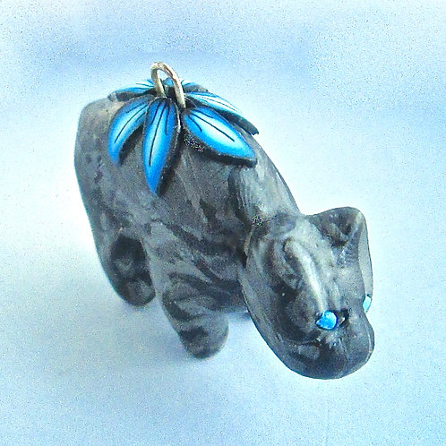 Small Black Marble Bear Pendant