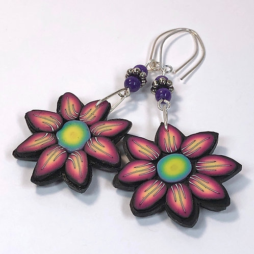 Flower Power Earrings - Fire/Grass