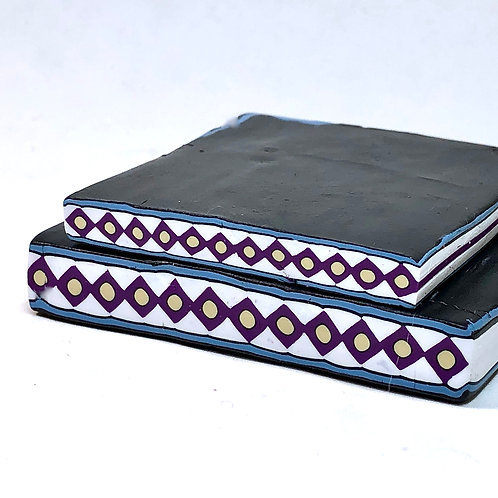 Southwestern Diamonds Border Cane - Purple/White