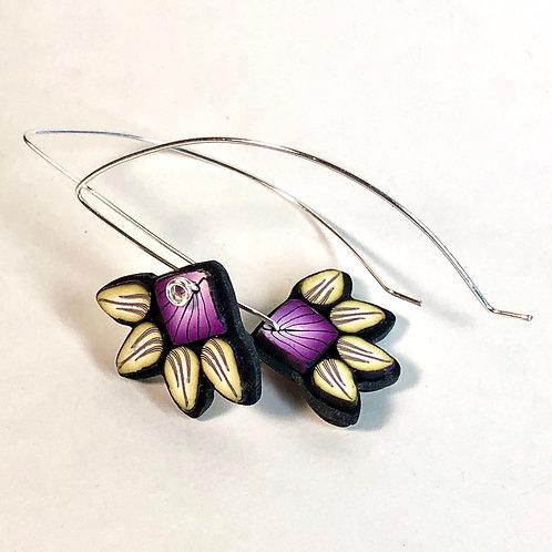 Squash Blossom Earrings - Purple/Yellow Style 1