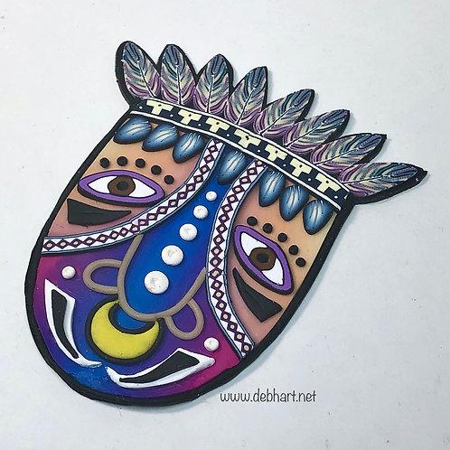 Tribal Mask pin - orange/blue