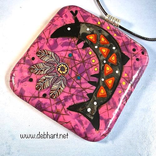 Fish Petroglyph Pendant - Purple Background