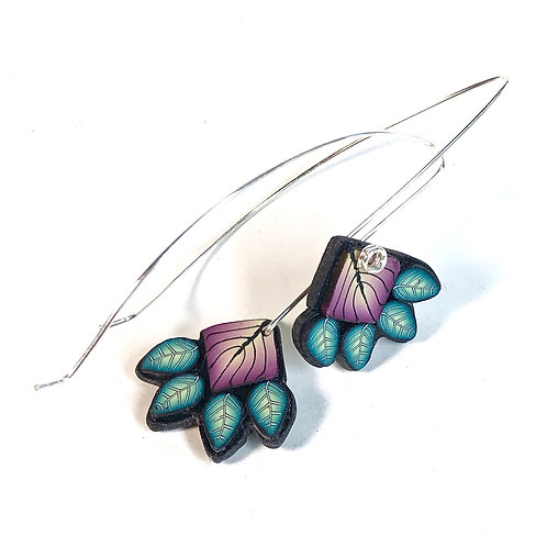 Squash Blossom Earrings - Purple/Seafoam Style 1