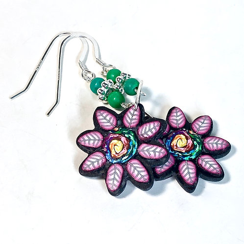 Flower Power Earrings - Swirl/Pink