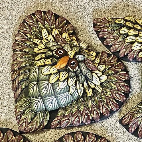 Medium Owl Heart Pendant - Sage/Yellow