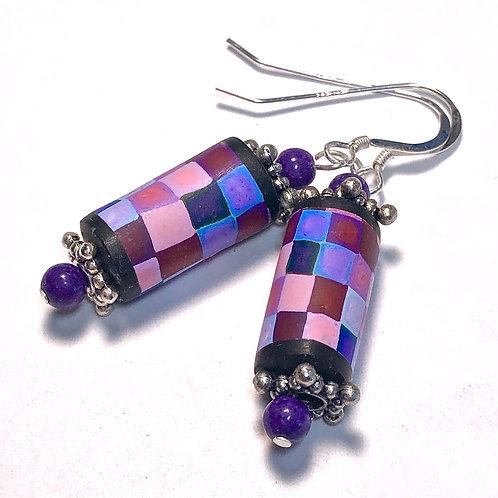 Rainbow Pixel Earrings - Purple