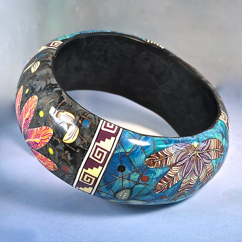 Turquoise/Black Marble Block Bangle