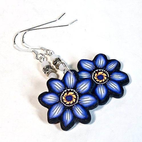 Flower Power Earrings - Floral/Blue