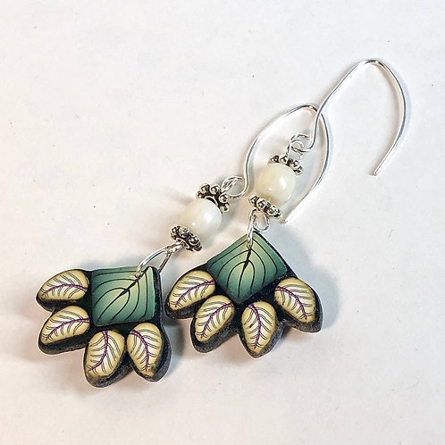 Squash Blossom Earrings - Green/Yellow Style 2