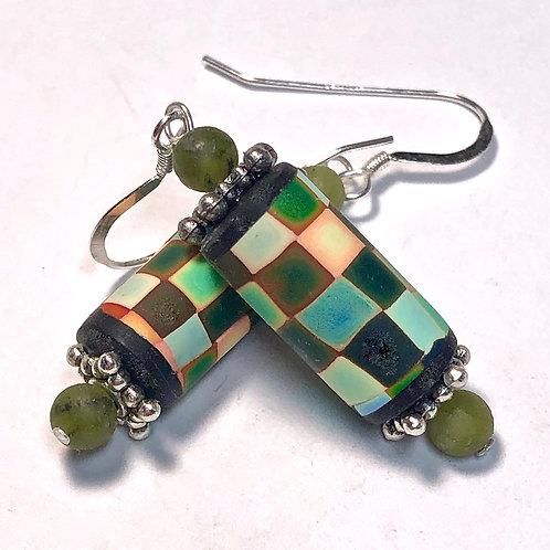 Rainbow Pixel Earrings - Green