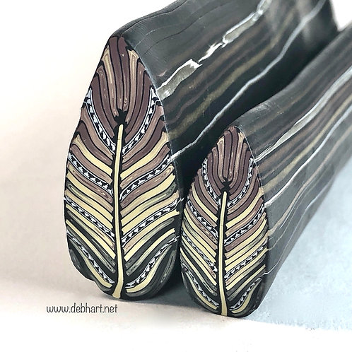 Black/Ecru/Brown Embellished Feather Cane