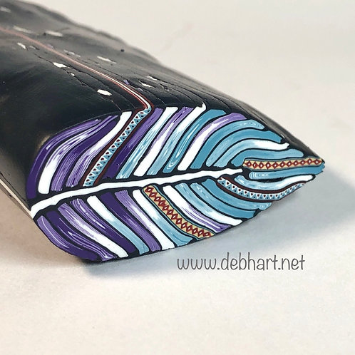 Purple/White/Powder Blue Embellished Feather Cane