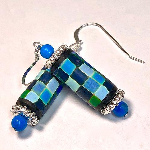 Rainbow Pixel Earrings - Turquoise