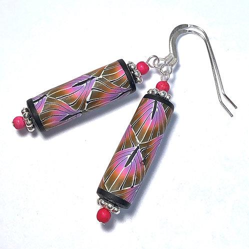Art Deco Tube Earrings - Pink/Gold/Purple style 2