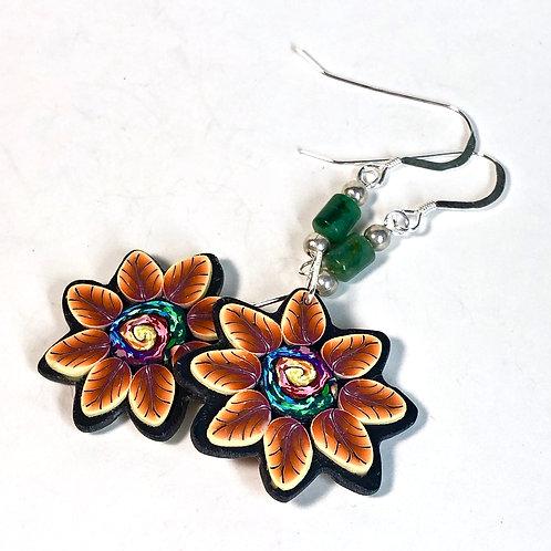 Flower Power Earrings - Swirl/Orange