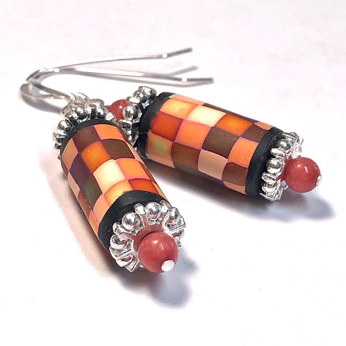 Rainbow Pixel Earrings - Orange