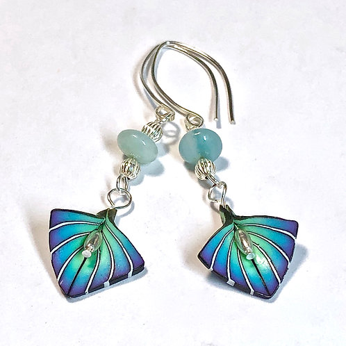 Art Deco Petal Earrings - Blue/Purple Style 2