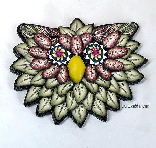 Owl Pin - Peridot/Rust