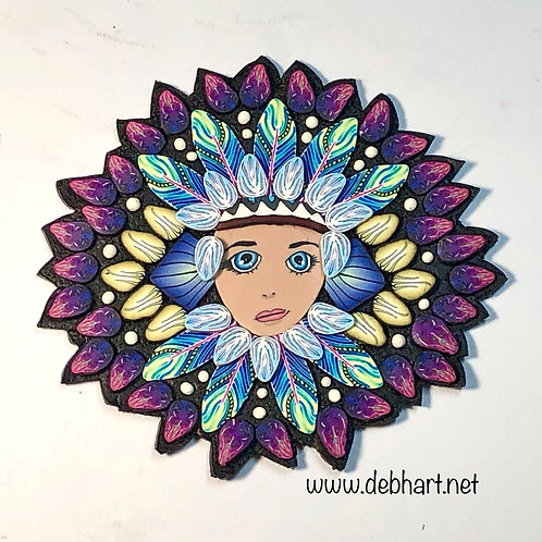 Small Nature Goddess pin/pendant - blue/magenta