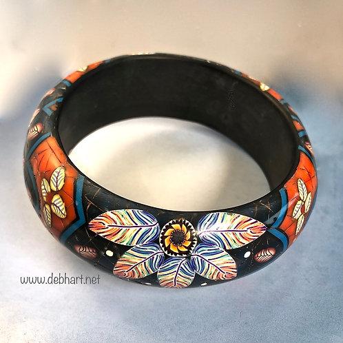 Lapis/Coral Mandala Bangle