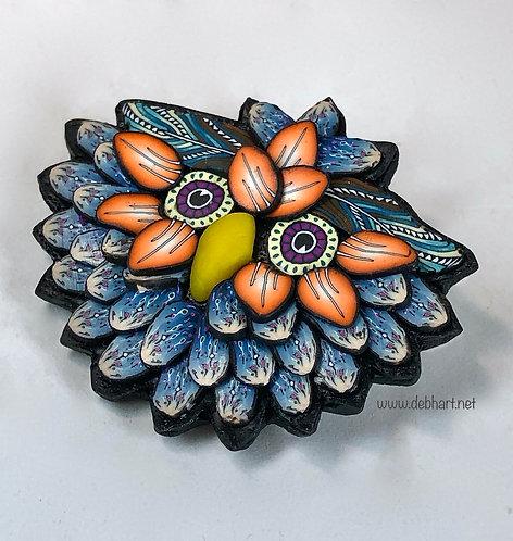 Owl Pin - Denim/Orange
