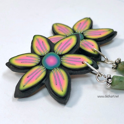 Flower Power Earrings - Sunset/Midnight