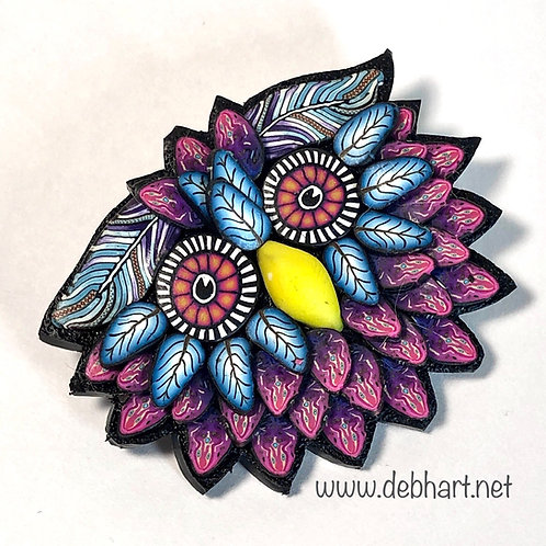 Owl Pin - magenta/turquoise