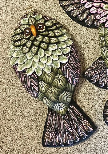 Sitting Owl Pendant - Pink/Black/Sage