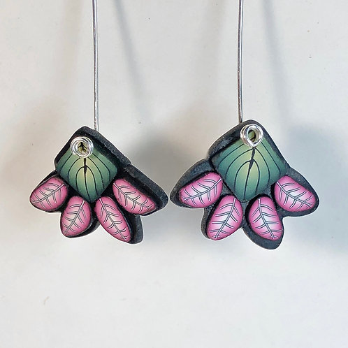 Squash Blossom Earrings - Green/Pink Style 1
