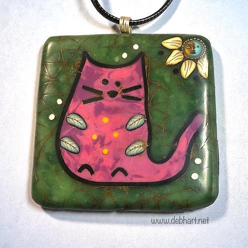 Small Kitty Petroglyph Pendant - Jade Background