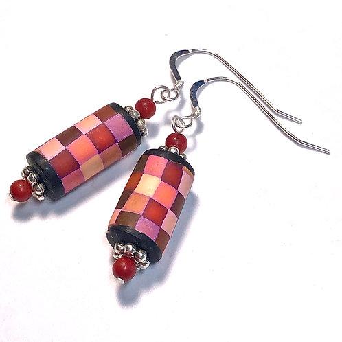 Rainbow Pixel Earrings - Red