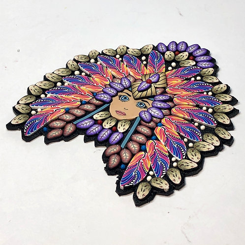 Nature Goddess pin/pendant - pink/purple