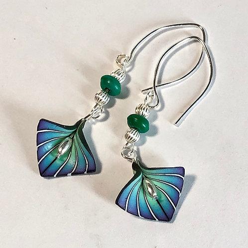 Art Deco Petal Earrings - Blue/Purple Style 1